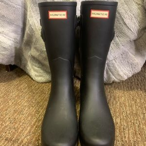 Women's refined slim matte black hunter boots
